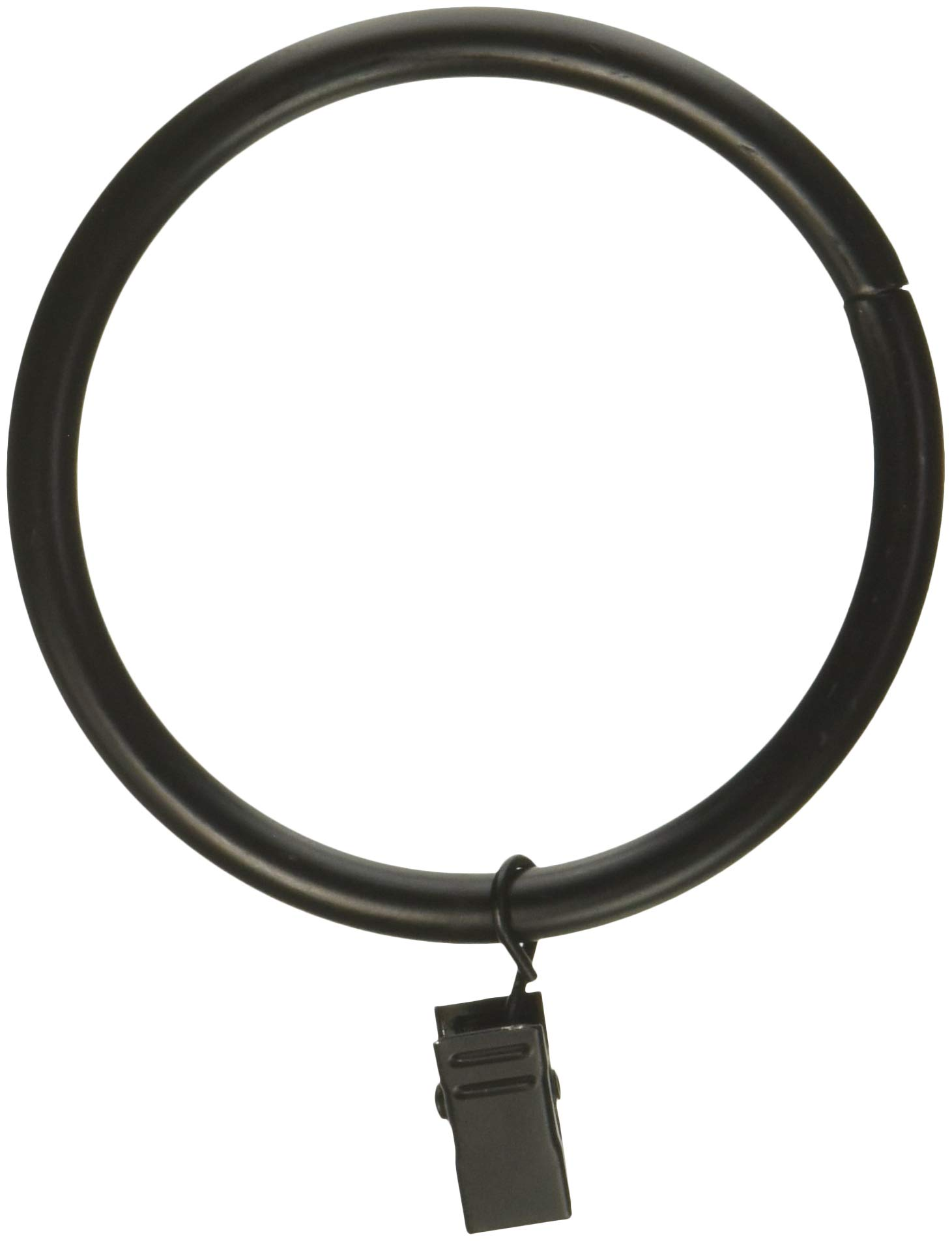 Rod Desyne 2-1/2 inch Curtain Rings with Clip, Black