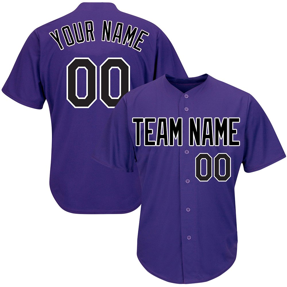 Custom Men's Purple Baseball Softball Jersey Big & Tall with Embroidered Your Name and Numbers,Black-White Size 4XL by DEHUI