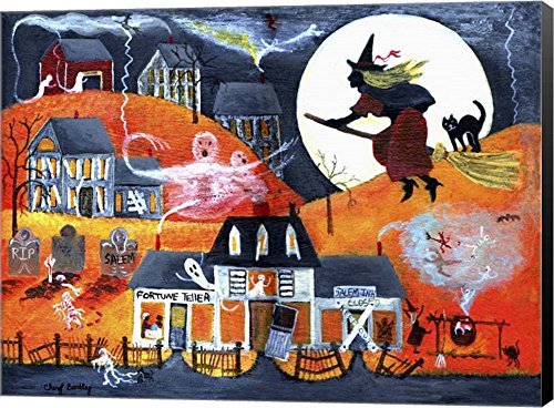 All Hallows Eve Halloween Witch & Fortuneteller by Cheryl Bartley Canvas Art Wall Picture, Museum
