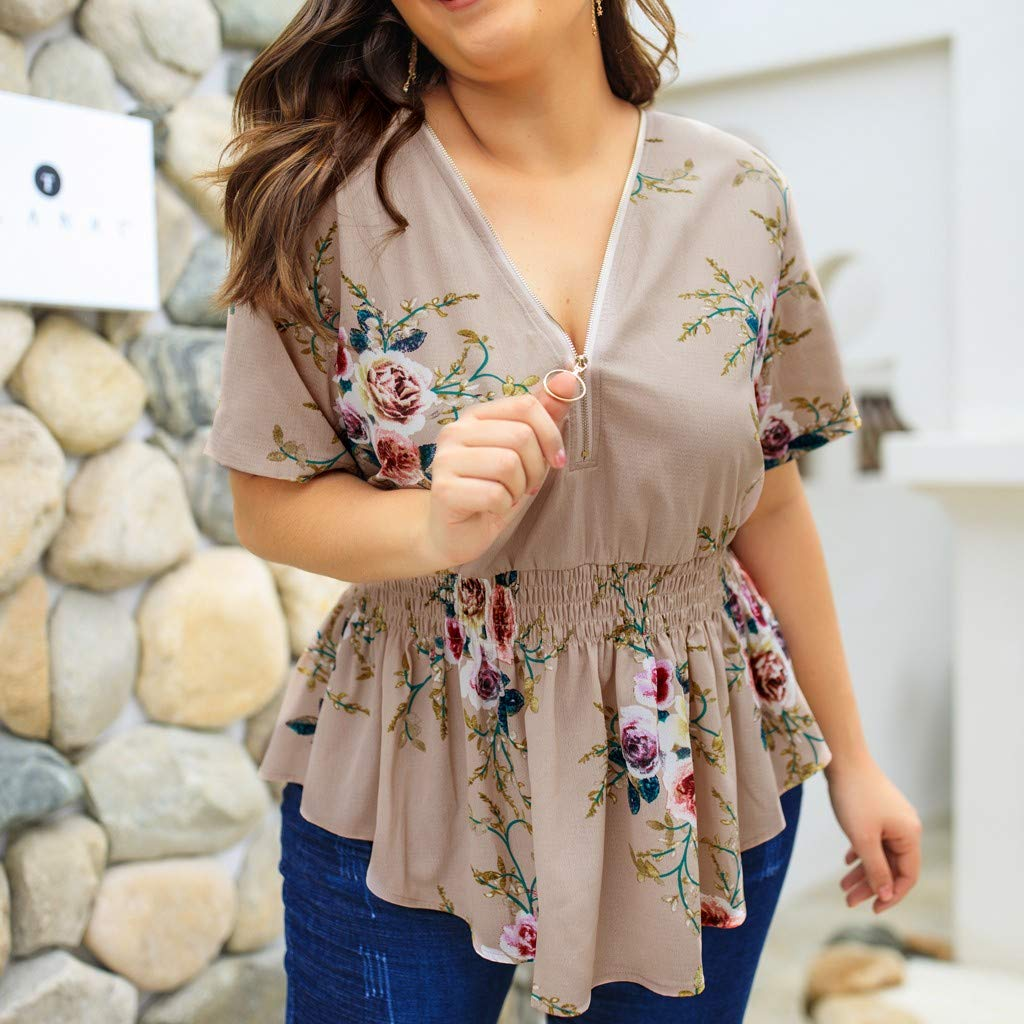 Plus Size Womens Floral Print V Neck Shirt Ladies Zip Up Summer Blouse Tops FEITONG Blouses for Women