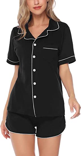 Ekouaer Womens Satin Silk Pajamas Set Short Sleeve Button-Down Pj Set Sleepwear Loungewear Two Piece Pj Sets