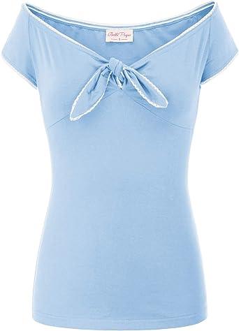 Belle Poque BP000601 - Camiseta de tirantes para mujer, elegante, vintage, retro, manga corta: Amazon.es: Ropa y accesorios