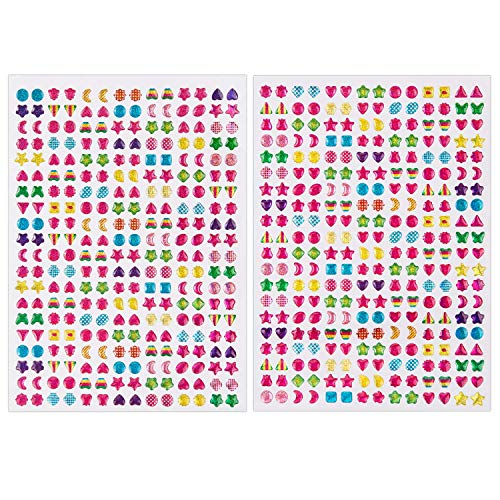 SAVITA 2000+ Stick on Earrings 3D Gem Stickers Glitter Sparkle Crystal Stickers Sticker Earrings for Girls Kids Children Multiple Colors & Shapes (4 Sheet)