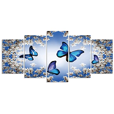 Geves Blue Butterflies Flowers Wall Art Paintings For Living Room Bedroom Canvas Prints Framed Ready To Hang Home Decor