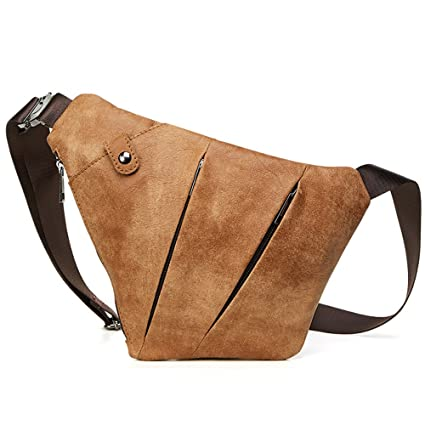 a3cc024584 Image Unavailable. Image not available for. Color  YIKUI Leather Men s Bag  Fashion Leisure Cycling Sports Men s Crossbody Chest Bag Leather Shoulder  Bag