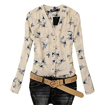 Bocideal® Moda Mujer Pájaro elegante impresión Blusa manga larga camisas delgadas ocasionales (L)