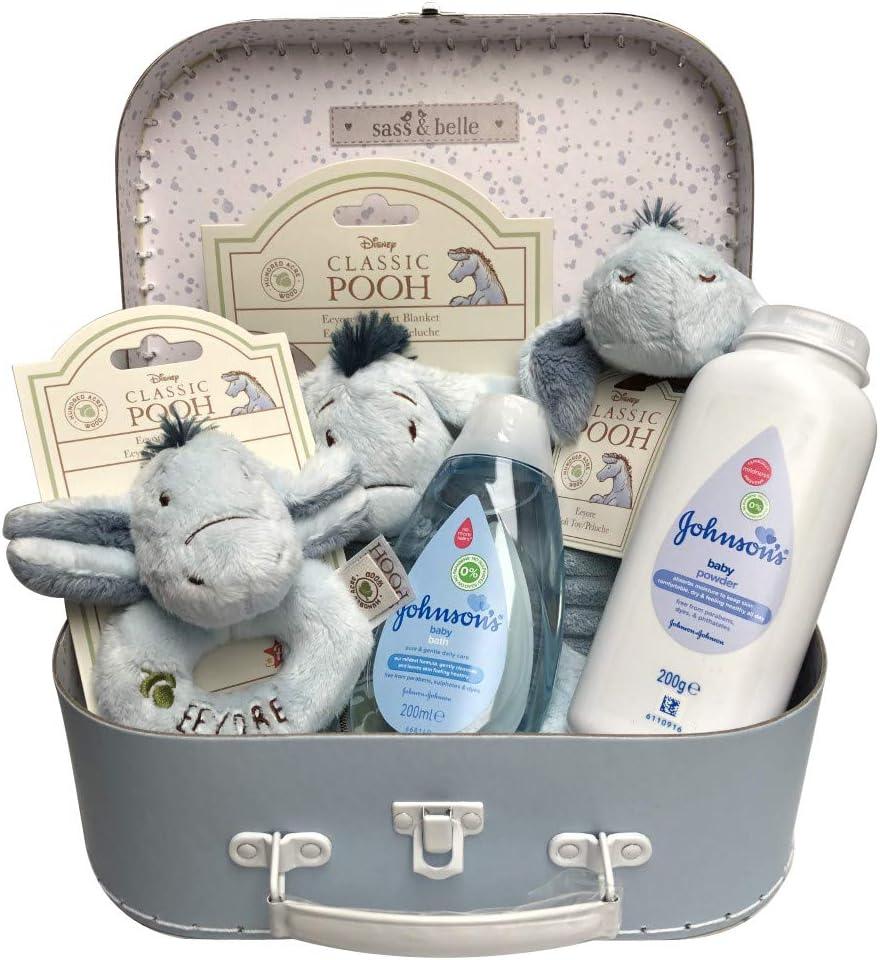 20 x 15 x 8cm Eeyore Soft Ring Rattle /& Johnsons Toiletries Newborn Baby Gift Hamper Carry Case Suitcase Set Blue