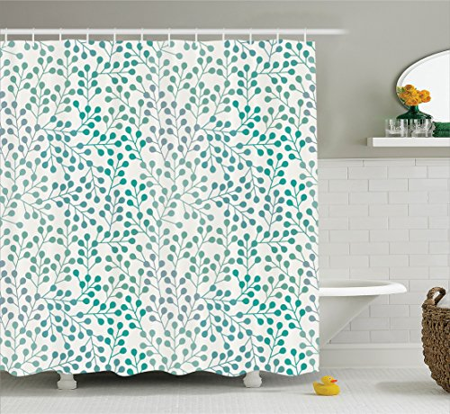 Grey and Teal Leaves Shower Curtain