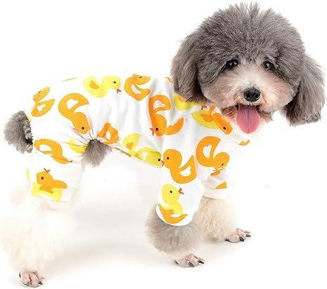 Zunea Mono para perro pequeño, pijama de algodón suave, para dormir, adorable, estampado de pato amarillo, 4 patos, ropa para mascotas, gatos, ...