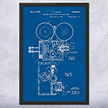 """Framed Motion Picture & Sound Camera Patent Print, Movie Camera, Movie Camera Patent, Video Camera Patent, Actor Gift Blueprint (5"""" x 7"""")"""