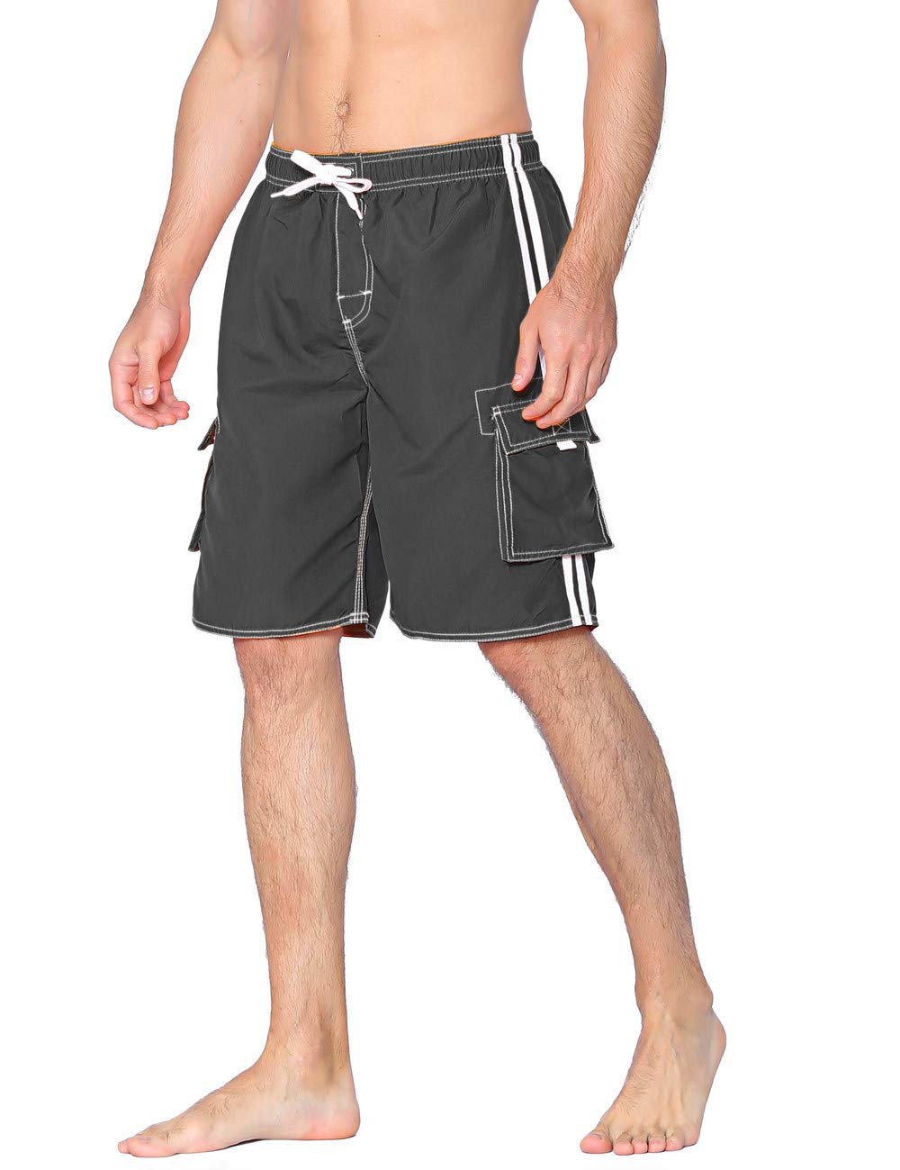 Unitop Men's Classic Quick Dry Beach Shorts with Linning Charcoal Gray 36 by Unitop