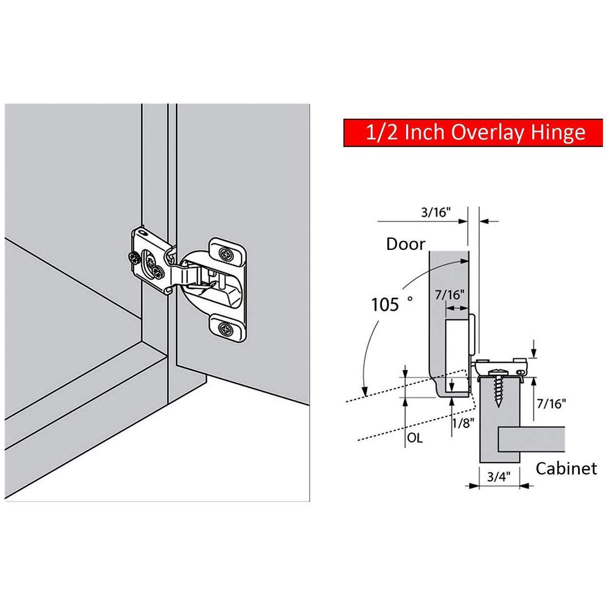AmazonBasics Soft Close Hinge, 1/2'' Overlay, Nickel Plated, 50-Pack (Renewed) by AmazonBasics (Image #5)