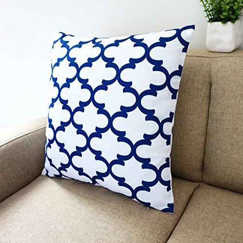 Amazoncom Blue and White Howarmer Square Cotton Canvas