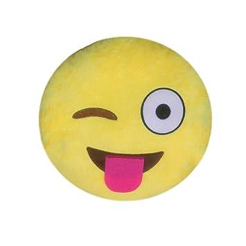 Healthy Clubs Sonreír Emoji Emoticon Cojín Decoración Sofá Juguete de Peluche (Lengua)