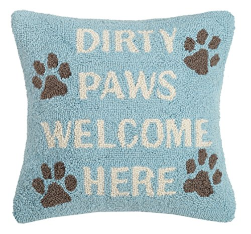 Peking Handicraft Dirty Paws Welcome Here Hook, 16x16 Throw Pillow