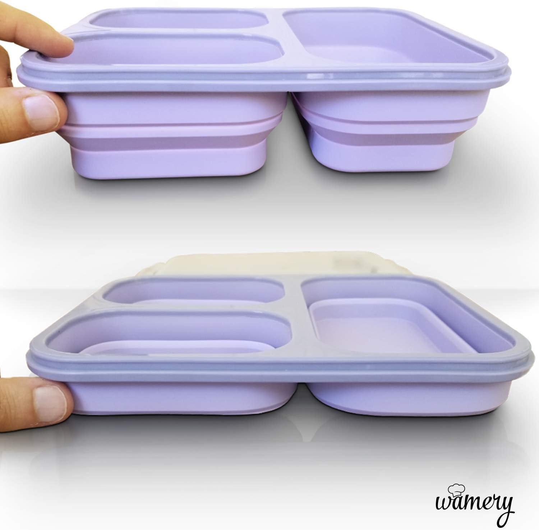 Wamery Nouvelle bo/îte /à Lunch en Silicone Pliable Contenant des Repas Violet Le Lave-Vaisselle et Micro-Ondes sans probl/èmes d/'Utilisation avec Le cong/élateur 3 Compartiments /étanches