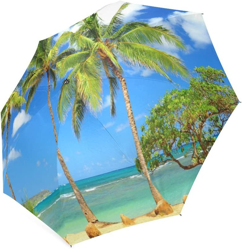 Custom Beach Palm Tree Compact Travel Windproof Rainproof Foldable Umbrella