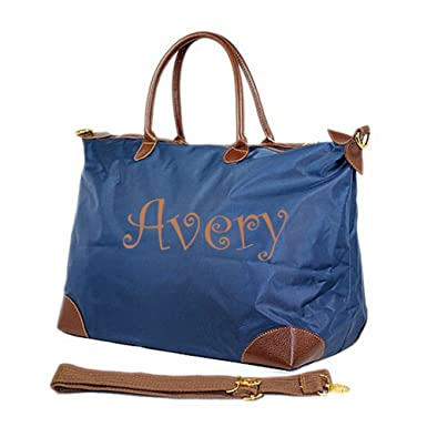 Personalized large Nylon Tote Travel Bag - Navy 5872cd0b1bc7c