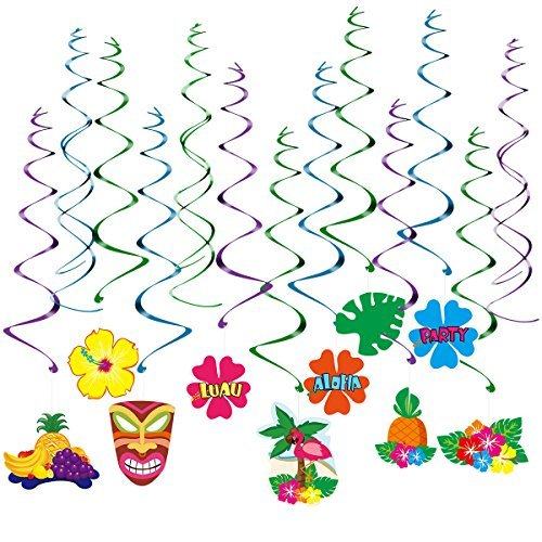 LUOEM Hawaii Decorations Luau Party Swirls Hanging Ornament Summer Party Supplies, Pack of 30