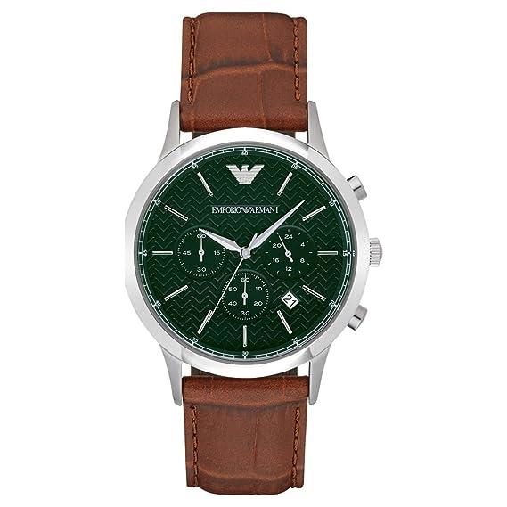 Emporio Armani Reloj de Cuarzo Hombre con cronógrafo Negro y Pulsera de Piel marrón AR2493: Amazon.es: Relojes