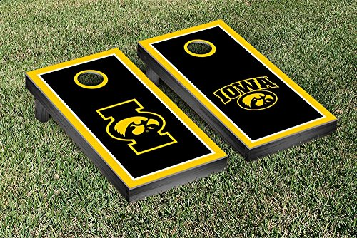 University of Iowa Hawkeyes Cornhole Game Set Alt Border Wooden by Victory Tailgate