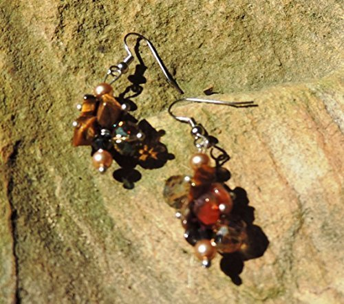 Tiger Eye, Carnelian, Crystal Chips& Pearl Earrings Carnelian Tigers Eye Earrings