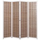 Decorative 4-Panel Bamboo & White Wood Framed Folding Screen / Freestanding Room Divider - MyGift