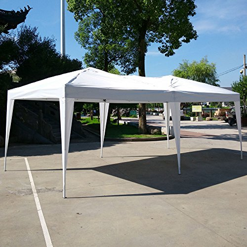 Azadx Easy Pop Up Canopy Party Tent, 10 x 20-Feet, Sun Shelters Wedding Event Party Tent Folding Gazebos Beach Canopy with Carry Bag (White)