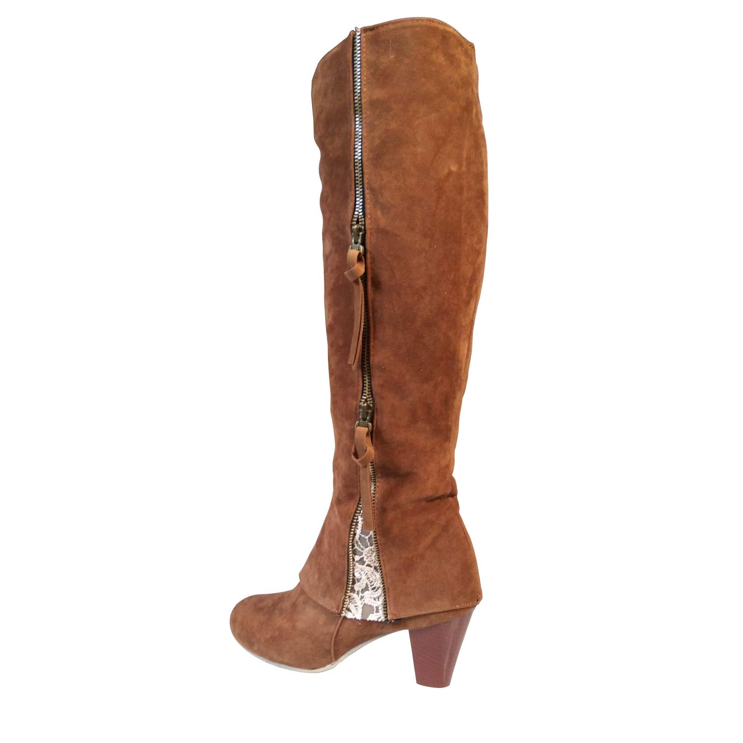 f48afd741e3 Luoweikadeng Women Riding Boots Fold Over Design Near The Ankle with Lace  Detailing at Edge
