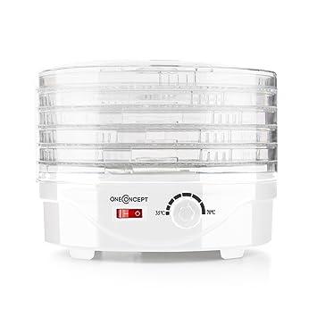 Oneconcept Bonsai Deshidratador Secador Blanco (250W, 4 bandejas, para Verduras, Frutas, Hierbas, Hongos, bandejas de Secado Lavables, distribución Uniforme ...