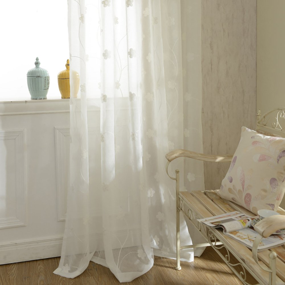 YouYee Semi-Sheer Elegant Embroidered Solid White Rod Pocket Window Curtains/Drape/Panels/Treatment