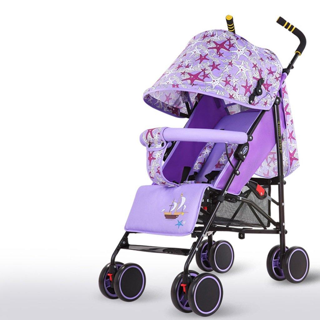 赤ちゃんのベビーカー軽量シンプルフィット折りたたみシットトゥゲザー子供用トロリー(ブルー)(グリーン)(パープル)(レッド)61 * 102cm ( Color : Purple ) B07BT5YS6X