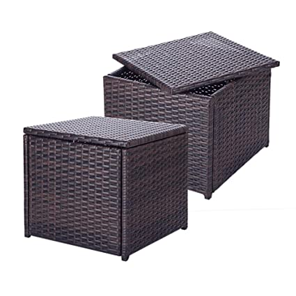 Cool Richly Wicker Storage Ottoman Outdoor Indoor Rattan Storage Stool Chair Set Saving Space Seat 2 Pcs Brown Machost Co Dining Chair Design Ideas Machostcouk