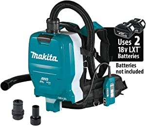 Makita XCV10ZX 18V X2 LXT Lithium-Ion (36V) Brushless Cordless 1/2 Gallon HEPA Filter Backpack Dry Dust Extractor, AWS Capable, Tool Only