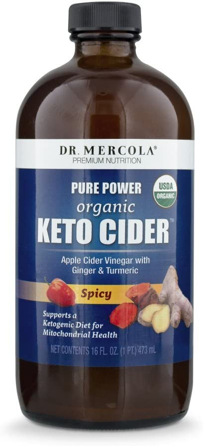 Dr Mercola, Pure Power Organic Keto Cider - Spicy, Apple Cider Vinegar with Ginger & Turmeric, 16 FL oz (1 PT.), 31 Servings, Non GMO, Soy-Free, Gluten Free, USDA Organic