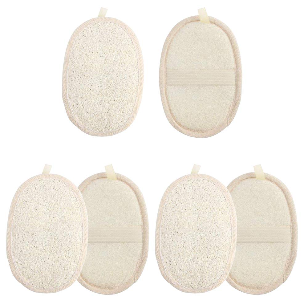6 Packs Exfoliating Loofah Pads, SourceTon 100% Natural Luffa Sponge and Terry Cloth Scrubber Brush for Bath SPA and Shower