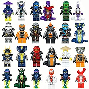 Threetush Ninjago Building Blocks Toys Minifigures Kids Set 18 Minifigures with Accessories