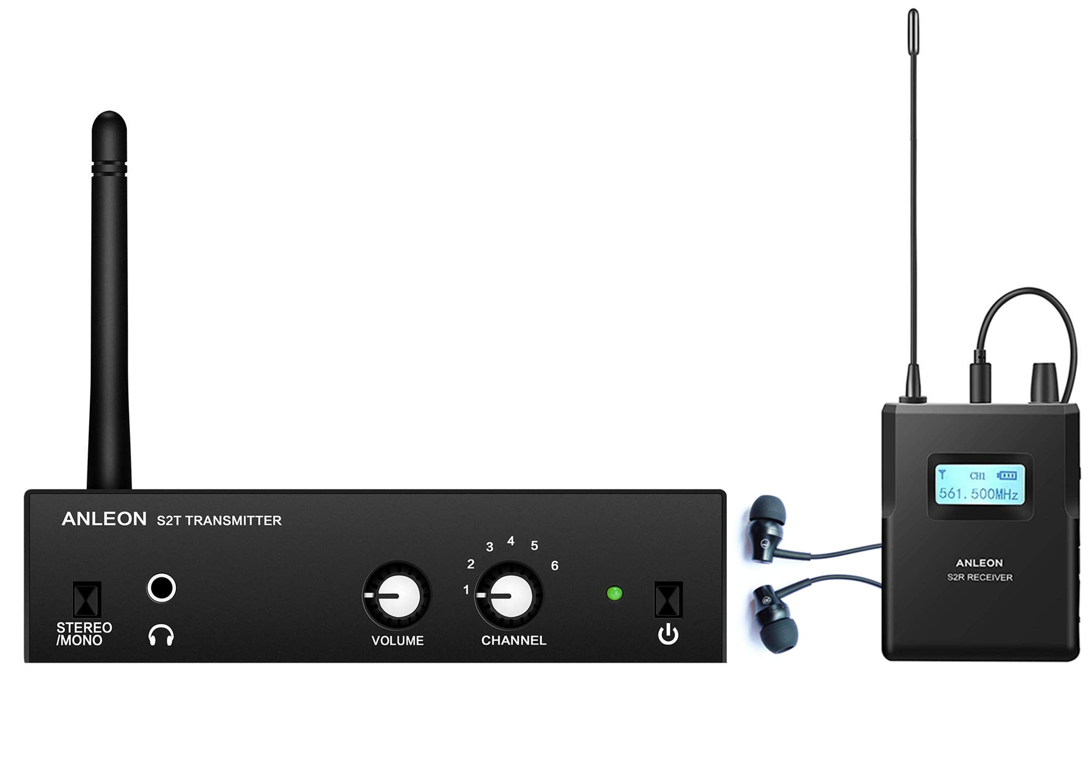 Anleon S2 IEM System Wireless Stereo In-ear Monitor System For Recording Studio Stage Performance 561-568Mhz (1 transmitter 1 receiver)
