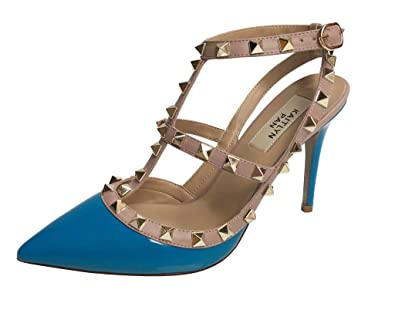 Amazon.com | Kaitlyn Pan Pointed Toe Studded Strappy Slingback ...
