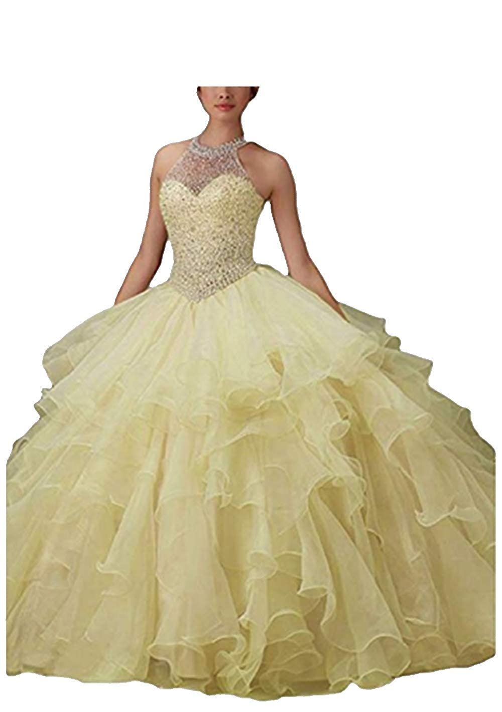 Yellow ANGELA Women's Halter Beads Ball Gown Quinceanera Dresses Organza Long Prom Dress