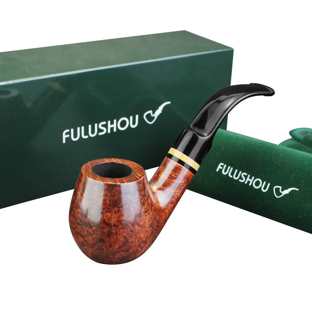 FULUSHOU Mediterranean Briar Wood Tobacco Pipe, Simple Atmosphere Tobacco Pipe - Desktop Pipe