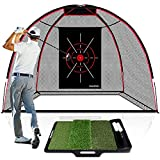 CHAMPKEY TEPRO 10' x 7' Golf Hitting Net with Golf Hitting Mat | 5 Ply-Knotless Netting with Impact Target Driving Net