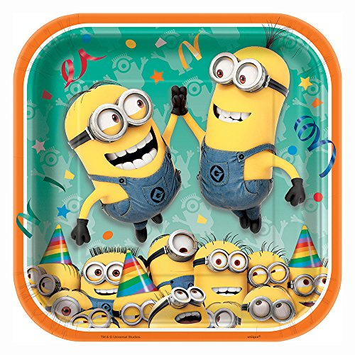 Square Despicable Me Minions Dinner Plates, 8ct ()