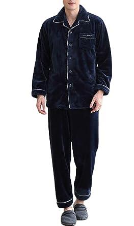 Pijama de hombre, pijama de lana de coral, conjunto de ropa abrigada y cómoda
