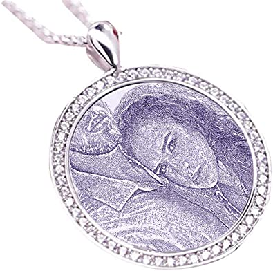 Custom Sterling Silver Picture and Text Pendant Necklace Jewelry Valentines Day Birthday Gift