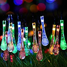 O'lemon Solar String Lights 20ft 30 LED Water Drop Solar String Fairy Waterproof Lights Christmas Lights Solar Powered String lights for Garden Patio Yard Home Christmas Tree Parties