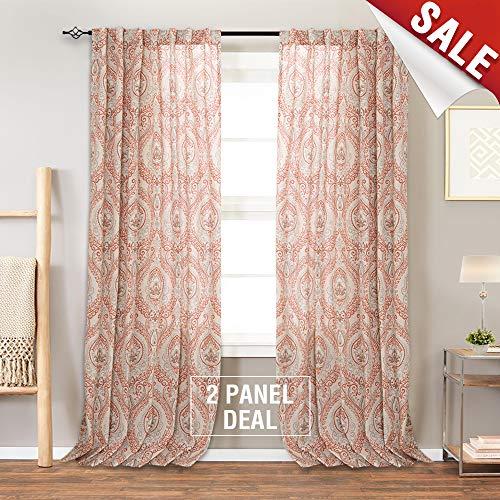 Damask Printed Curtains for Bedroom Drapes Vintage
