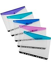 Snopake Polyfile A4 Popper Wallet Landscape Ring Binder - Clear, Pack of 5