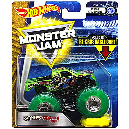 Hot Wheels Monster Jam Bad News Travels Fast Clear Crushers 1:64 Scale Truck with Re-crushable Car