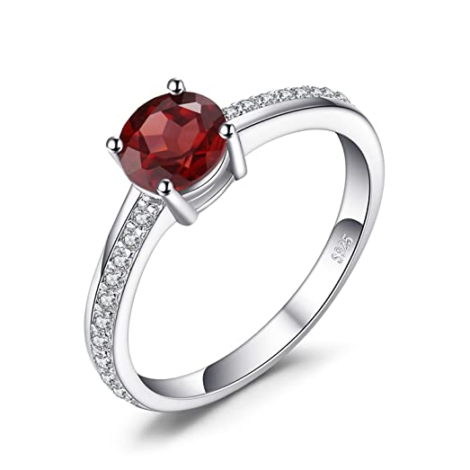 JewelryPalace Classic Round 1.3ct Red Genuine Garnet White Topaz Solitaire Engagement Ring 925 Sterling Silver EKPeOf